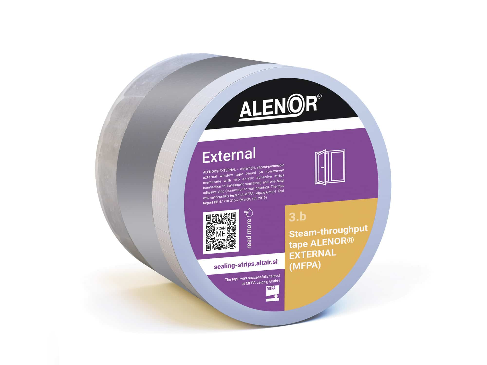 Steam-throughput window tape ALENOR® External (MFPA)